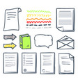 office paper document and bubbles icons set vector image vector image