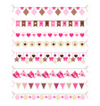 pink colors bounting flags vector image vector image