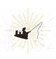 retro fisher silhouette logo vector image vector image