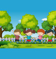 scene with four kids in the park vector image vector image