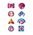 Set of letter P logo Branding Identity Corporate vector image vector image