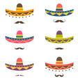 set of mexican hats and mustaches vector image
