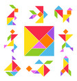 tangram game set vector image vector image