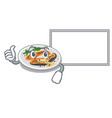 thumbs up with board grilled salmon isolated in vector image vector image