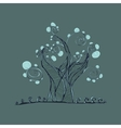 tree with branches and leaves grass vector image vector image