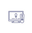 tv with voice control line icon on white vector image