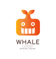 whale logo design creative badge with whale can vector image vector image