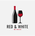 wine bottle and glass logo red and white wine vector image vector image