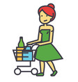 woman shopping in supermarket with grocery cart vector image