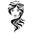 women long hair style icon logo women face on vector image