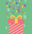 wrapped gift lights and snowflakes merry christmas vector image vector image