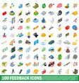 100 feedback icons set isometric 3d style vector image