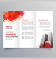 abstract red ink splatter trifold brochure design vector image vector image