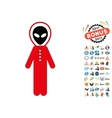 Alien Skafandr Icon with 2017 Year Bonus Symbols vector image vector image