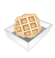 Baked Round Waffles in White Paper Box vector image vector image