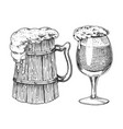 beer glass mug or bottle of oktoberfest engraved vector image vector image