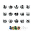business efficiency icons - metal round series vector image vector image