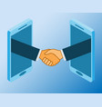 business handshake via phones online vector image