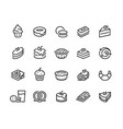 cakes and cookies line icons bakery and sweet vector image