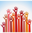 Caring up hands hearts Volunteers l vector image vector image