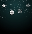 Christmas Dark Background with Silver Balls Stars vector image vector image