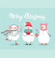 christmas greeting card with cute snowmen vector image