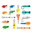 colored whistles set green warning tools soccer vector image vector image