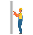construction worker man with hammer and nails vector image