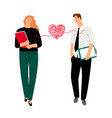 couple in love heart bound vector image vector image