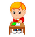 cute boy writing and thinking be happy vector image