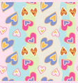 decorative pattern with hand drawn hearts on vector image vector image
