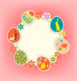 design photo frame with easter eggs vector image vector image