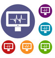 electrocardiogram monitor icons set vector image vector image
