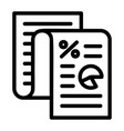 finance paper icon outline style vector image