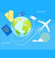 flight around world flat vector image vector image
