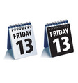 friday 13 calendar realistic 3d vector image vector image