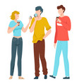 friends together young people taking selfie vector image