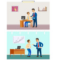 good and bad job at office rebuke or approval vector image vector image