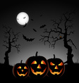 Halloween night with pumpkins on gray background vector image vector image