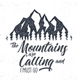 Hand drawn mountain advventure label calling vector image vector image
