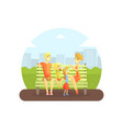 happy family sitting on bench in urban park vector image vector image