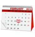 holiday calendar for Valentines Day vector image vector image