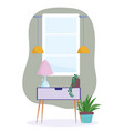 home room potted plants in table with lamp vector image vector image