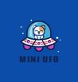 logo mini ufo simple mascot style vector image