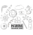 marine nautical travel icons set black and white vector image
