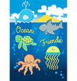Ocean friends swimming under the sea with island vector image vector image