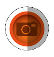 orange round symbol digital camera icon vector image vector image