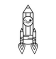 pencil rocket cartoon smiley vector image