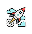 rocket startup flat color line icon vector image vector image