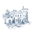 rural landscape with old farmhouse and garden vector image vector image